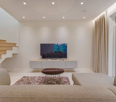 Minimal living room with flatscreen TV